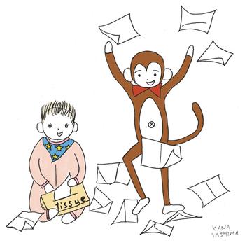 ダニエル サル いたずら テナガザル さる ゆるキャラ かわいい キャラクター 線画 あかちゃん ティッシュ 赤ちゃん