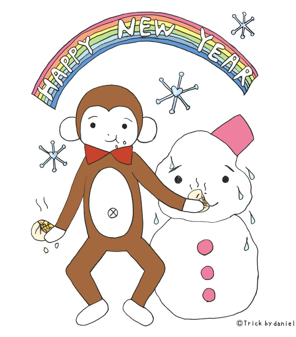 雪だるまに肉まんを食べさせるサルのダニエル【年賀状デザインプレゼント】