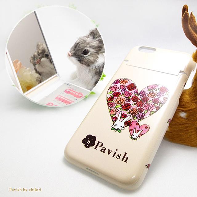 Pavish ミラー付きiPhoneケース ハートうさぎ