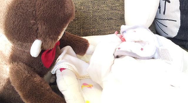 さるのダニエルを見て隠れる赤ちゃん