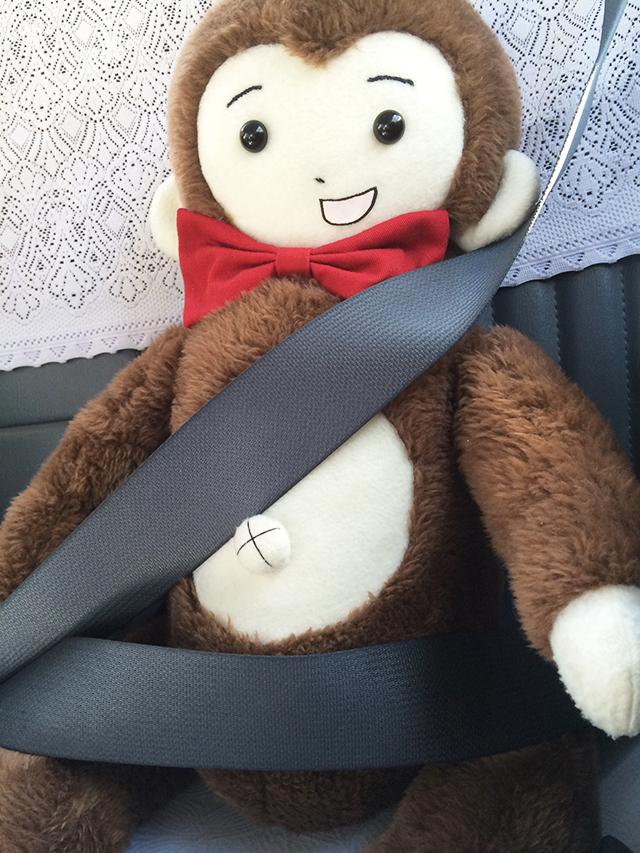 タクシーに乗っているさるのダニエル