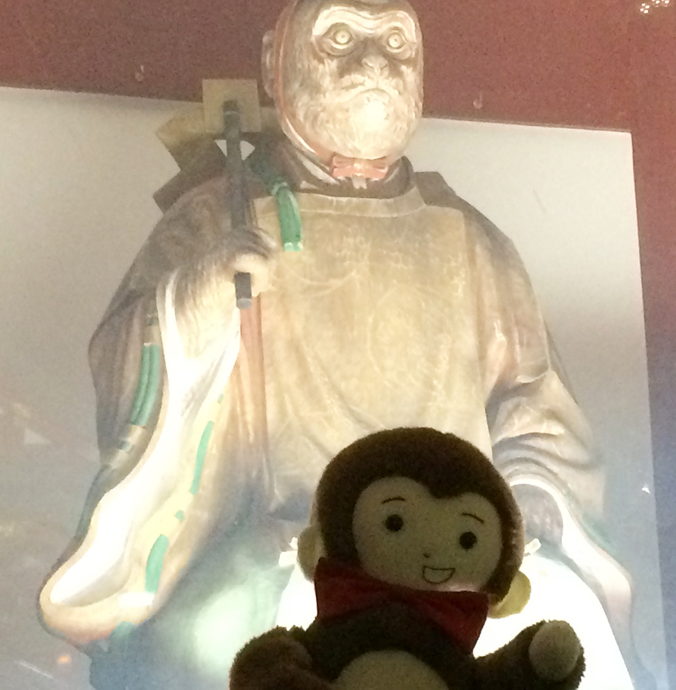 日枝神社に初詣に行くさるのダニエル さるの神様とのツーショット
