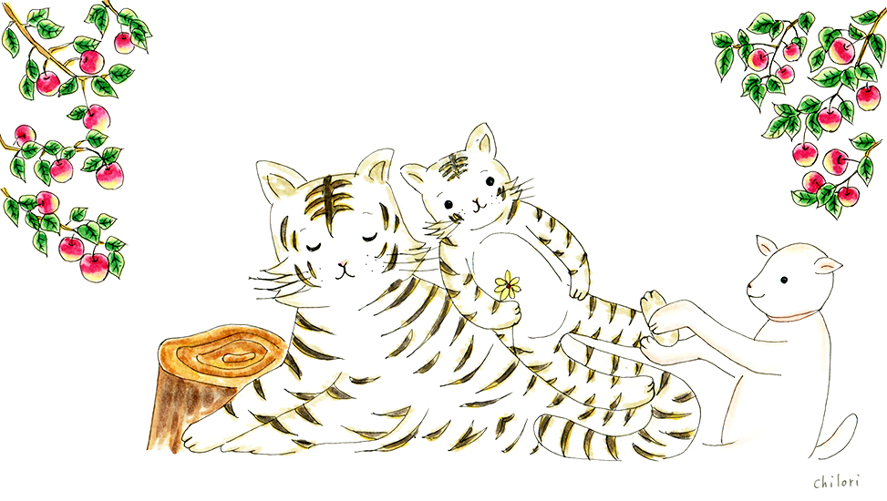 はしもとクリニック経堂さま タクティールケアをされているホワイトタイガーの子どものイラスト