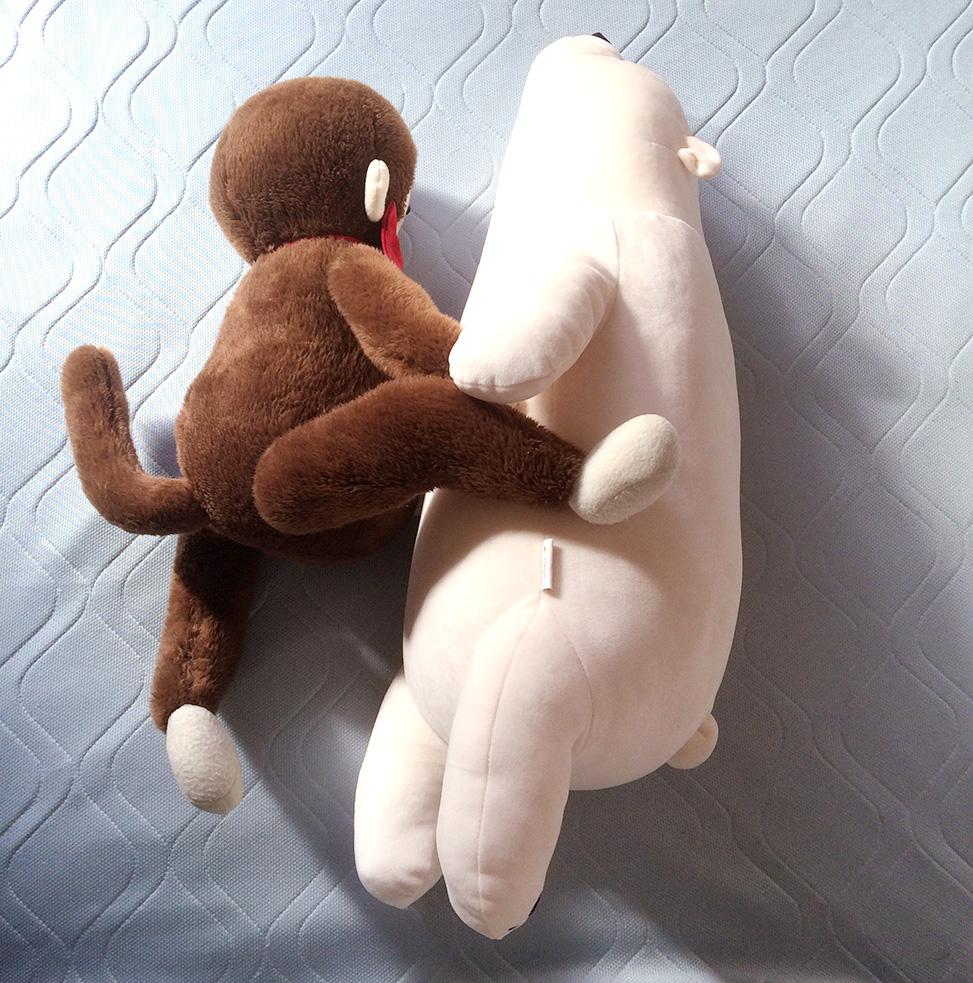 だらっとしたシロクマと戯れるさるのダニエルと【Trick by daniel】