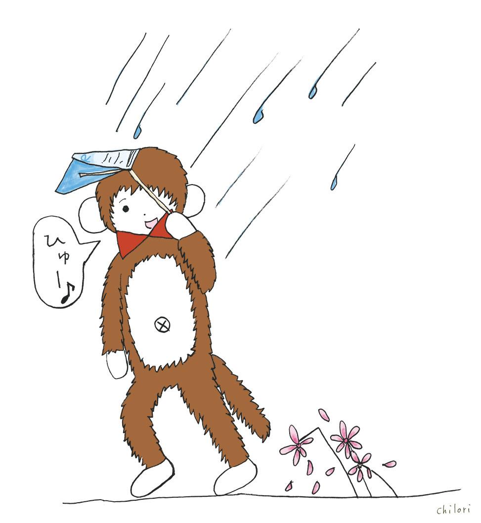 さるのダニエルがフリーペーパーで傘を作ってみた